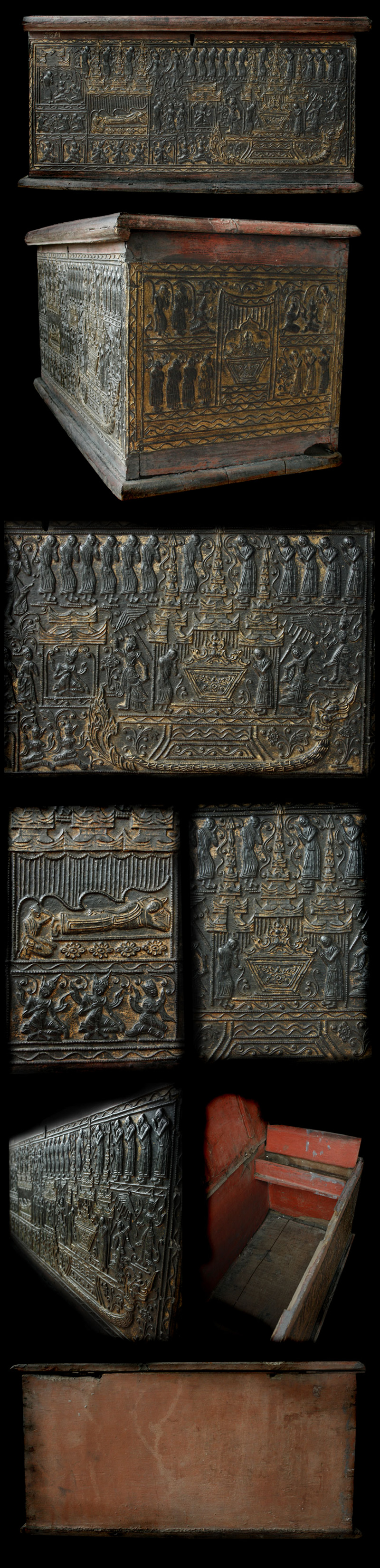 Extremely Rare 19C Wood Burmese Buddhist Chest #OF100