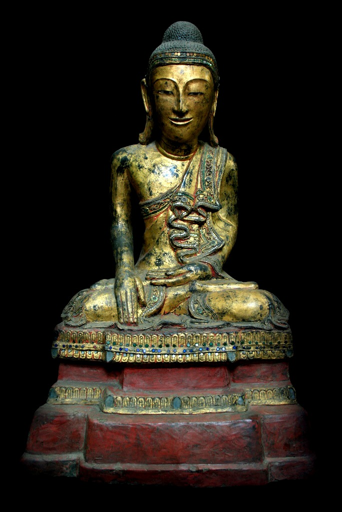 Extremely Rare Early 19C Lacque Mandalay Buddha #9023