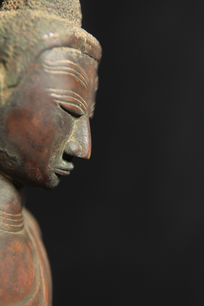 Extremely Rare Early 19C Bronze Burmese Shan Buddha # BB156