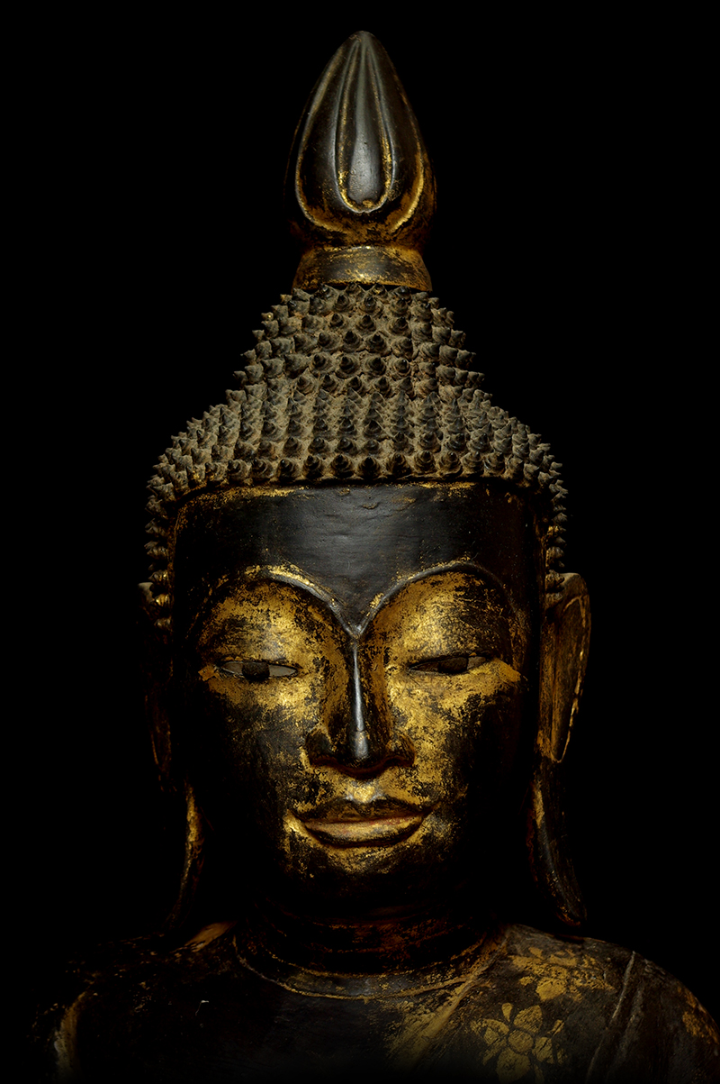 Extremely Rare Early 19C Wood Thai Buddha #B042-2
