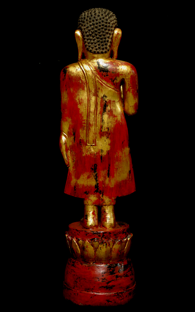 Extremely Rare 19C Wood Lanna Thai Happy Buddha #B06-2