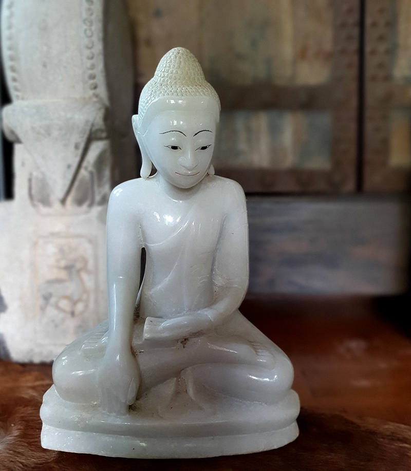 Extremely Rare 18C Alabaster Shan Burma Buddha #DR003