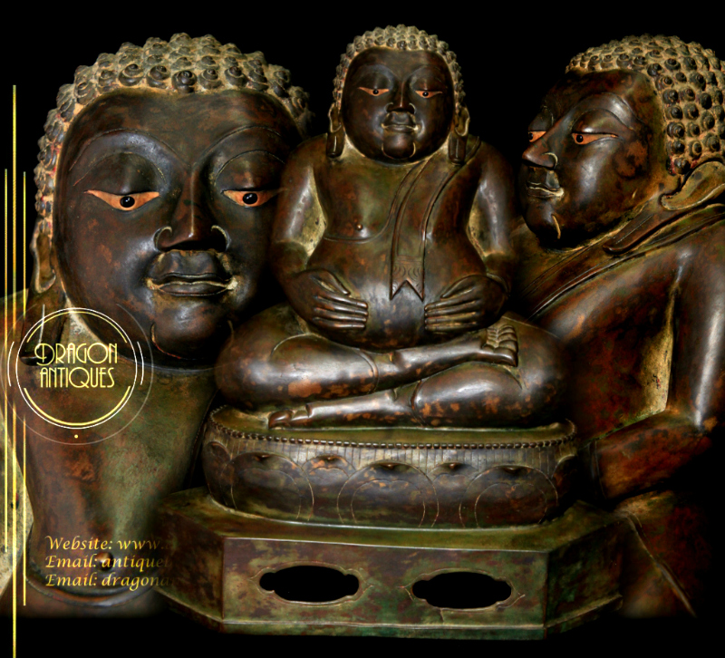Extremely Rare Early 19C Bronze Thai Happy Buddha #BB172