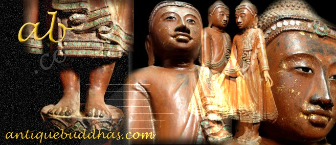 Extremely Rare 19C Wood Burma Mandalay Buddha #BB183