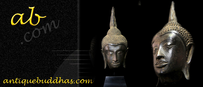 Extremely Rare 19C Bronze Thai Lanna Buddha Head # BB189