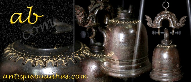 Extremely Rare Early 19C Bronze Laos Temple Bell #BB213