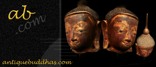 Extremely Rare 18C Lacquer Shan Burma Buddha Head #BB267