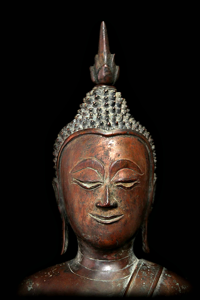 Extremely Rare Early 19C Bronze Laos Buddha #BB207