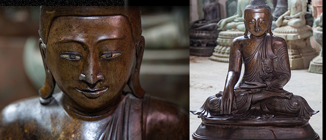 Extremely Rare Early 18C Bronze Burma Shan Buddha #DW011