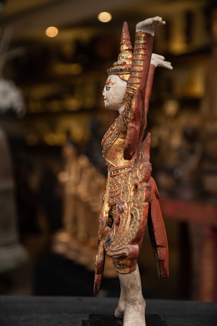 Extremely Rare 19C Bronze Yuk Thai Temple Sculpture #OF9001