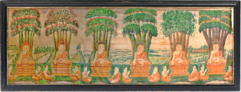 19C Burmese Buddhist Temple Painting